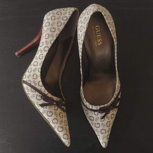Guess Brown Signature Fabric Pumps